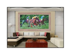 Oleg Stavrowsky Original Oil Painting On Canvas Large Signed Polo Horse Artwork