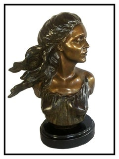 Frederick Hart Bronze Sculpture The Muses Music Signed Female Bust Full Round