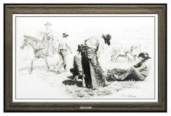 Bill Anton Large Charcoal Drawing Signed Cowboy Western Illustration Framed Art