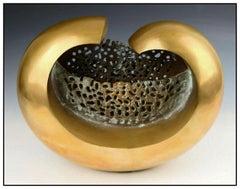 Raffael Benazzi Original Bronze Sculpture Abstract Basket Signed Modern Artwork
