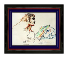 LeRoy Neiman Original Ink Drawing Signed Miami Dolphins Football Larry Csonka