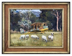 Susie Whitcombe Original Oil Painting On Canvas Signed Landscape Airplane Art