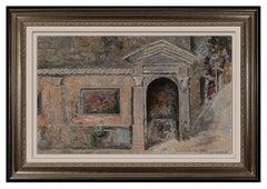 Lev Meshberg Original Oil Painting On Board Signed Cityscape Floral Framed Art