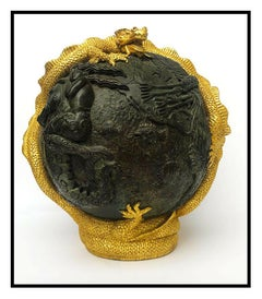 Jiang Tie Feng Genesis Bronze Full Round Sculpture Signed Chinese Art Gold Leaf