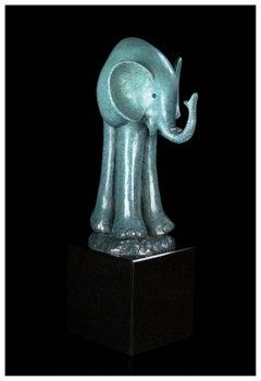 Gary Hughes Original Elephant Bronze Sculpture Full Round Signed Animal Artwork