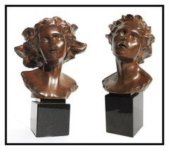 Frederick Hart Awakenings Suite Female Male Bust Bronze Sculpture Signed Artwork