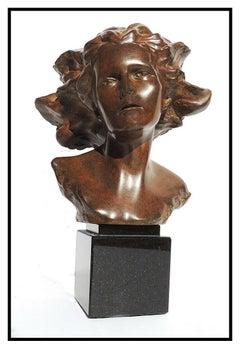 Frederick Hart Bronze Sculpture Signed Awakenings Female Bust Full Round Artwork
