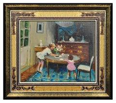Jules R Herve Original Oil Painting On Canvas Children Portrait Floral Signed