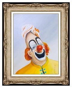 Red Skelton Original Oil Painting On Canvas Signed Clown Portrait Framed Artwork