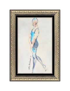 LEROY NEIMAN Original Watercolor Painting AUTHENTIC Female Signed Dance Art oil