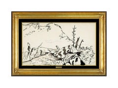 Milton Avery Authentic Original Ink Drawing Hand Signed Landscape Framed Artwork