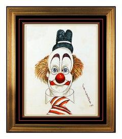 Red Skelton Original Pastel Drawing On Linen Hand Signed Clown Portrait Artwork
