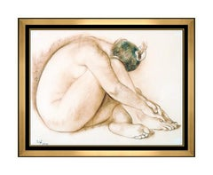 Francisco Zuniga Original Pastel Drawing Signed Portrait Nude Female Authentic