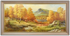 Eugene Garin Oil On Canvas Painting Signed Western Mountain Landscape Large Art