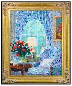 Henry Gordon Large Original Painting Oil On Canvas Signed Interior Framed Art