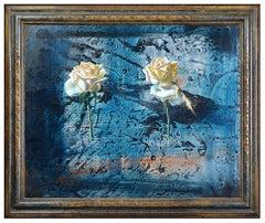 Mario Madiai Original Oil Painting On Board Signed Still Life Rose Flower Art