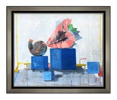 Andre Segovia Original Oil Painting On Board Food Still Life Signed Framed Art