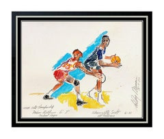 LEROY NEIMAN Original Watercolor Painting Basketball Sports Signed AUTHENTIC