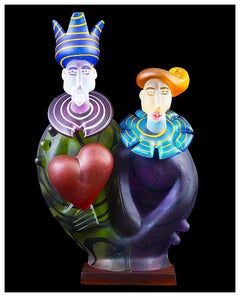 Stani Jan Borowski Original Murano Glass Sculpture Female Portrait Cubism
