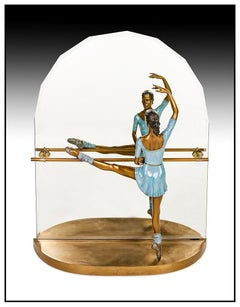 Ramon Parmenter Large Full Round Bronze Sculpture Reflections Signed Ballerina