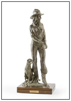 Curt Mattson Bronze Sculpture Full Round Carrying The Tradition Signed Female