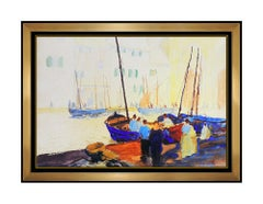 John Whorf Original Watercolor Painting Seascape Harbor Signed Framed Artwork