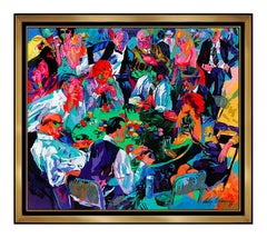LeRoy Neiman Original Woven TAPESTRY Stud Poker HAND Signed Large Art Painting