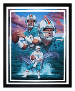 Danny Day Original Oil Painting On Canvas Large Signed Dan Marino Football Art