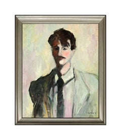 Clifford Bailey Original Portrait Painting Oil On Canvas Signed Large Artwork