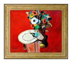 Andre Segovia Large Original Oil Painting On Board Floral Still Life Signed Art