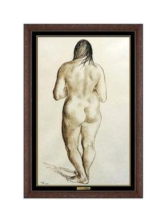 Francisco Zuniga Original Conte Crayon Drawing Signed Portrait Art painting rare
