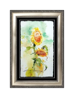 James Coleman Original Watercolor Painting Floral Still Life Signed Art Disney
