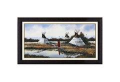 John Demott Original Western Landscape Gouache Painting Signed Native American