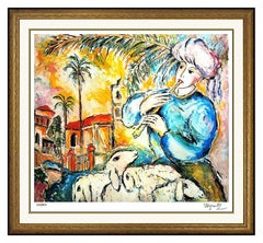 Zamy Steynovitz Rare Color Lithograph Hand Signed Modern Portrait Artwork Jaffa