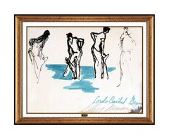 LeRoy Neiman Original Sports Artwork Ink Drawing Hand Signed Framed Authentic