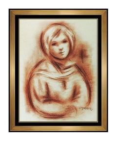 Jacques Zucker Original Sanguine Drawing Hand Signed Child Portrait Artwork SBO