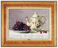 Gregory Hull Original Oil Painting On Canvas Signed Still Life Fruit Food Art