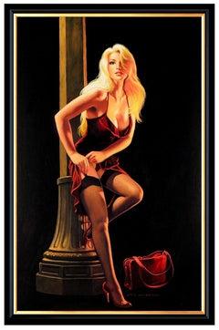 Greg Hildebrandt Original Acrylic Painting On Board Female Portrait Pin Up Art