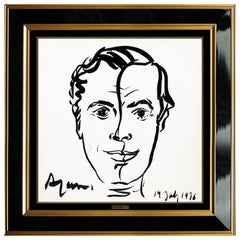 Yaacov Agam Original Ink Drawing Male Portrait Hand Signed Modern Framed Artwork