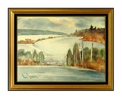 Paul Laurtiz Original Winter Landscape Watercolor Painting Signed Artwork Framed