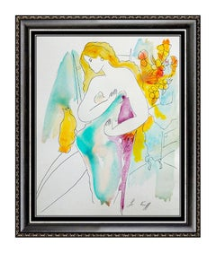 LINDA LE KINFF Original ACRYLIC ink & Watercolor Painting Signed Female Portrait