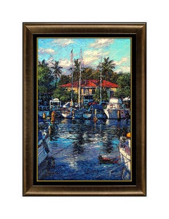 Christian Lassen Lahaina Reflections Color Lithograph Signed Painting Large Art