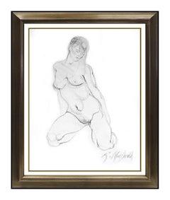RICHARD MACDONALD Original Crayon Drawing Signed Female Art bronze Sculpture