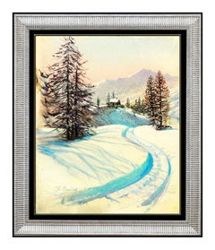 Peter Ellenshaw Original Oil Painting On Board Signed Snow Landscape Disney Art