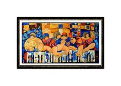 Dorit Levi Large Hand Embellished Giclee On Canvas Pianists Musician Signed Art