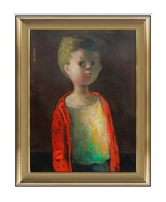 Jose Montanes Original Oil Painting On Board Signed Boy Child Portrait Artwork