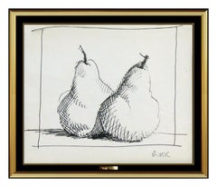 Robert Kulicke Original Ink Drawing Hand Signed Fruit Still Life Framed Artwork