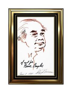 LeRoy Neiman Original Ink Drawing Hand Signed Portrait Comedian Gene Baylos Art