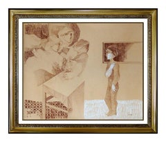 Sunol Alvar Original Pastel Drawing Signed Female Portrait Framed Art Painting
