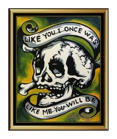 Allison Lefcort Original Acrylic Painting Hand Signed Modern Grafitti Art Skull